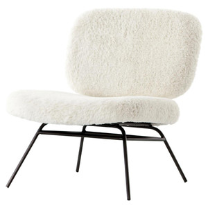 Caleb Ivory Angora Fur Accent Chair