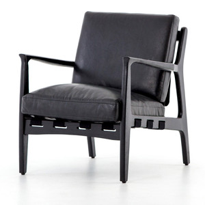 Silas Mid-Century Modern Aged Black Leather Arm Chair
