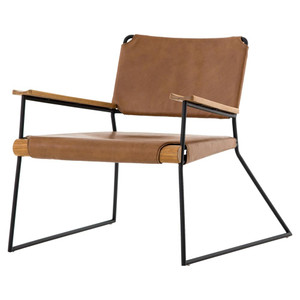 Newton Mid-Century Tan Leather Arm Chair