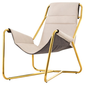 Vera Mid-Century Ivory Leather Lounge Chair - Gold
