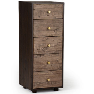 Calais Reclaimed Wood 5 Drawers Lingerie Chest - Rustic Brown