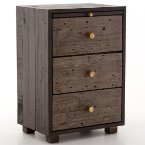 Calais Reclaimed Wood 3 Drawer Nightstand- Rustic Brown
