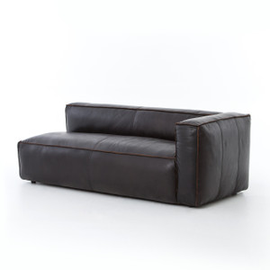 Nolita Saddle Black Leather Sectional Chaise - RAF