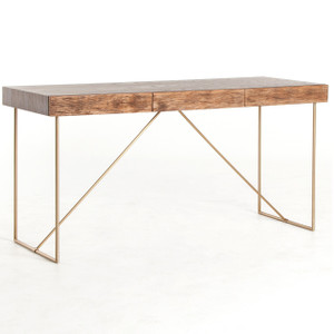 Keaton Reclaimed Wood + Antiqued Brass Writing Desk