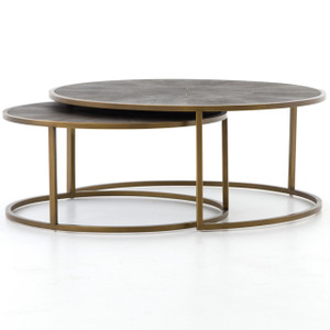 Hollywood Modern Shagreen Nesting Coffee Tables - Brass