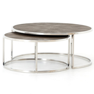 Hollywood Shagreen Nesting Coffee Tables - Stainless Steel