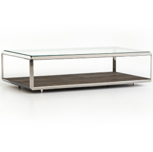 Hollywood Shagreen Shadow Box Glass Coffee Table - Polished