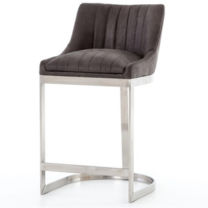 Rory Graphite Leather + Stainless Steel Counter Stool