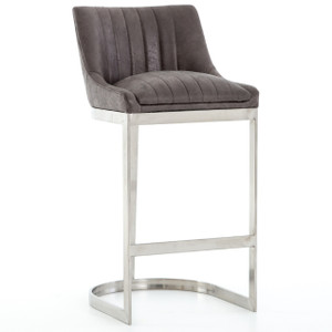 Rory Graphite Leather + Stainless Steel Bar Stool
