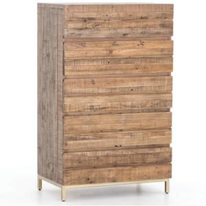 Tiller Brass & Reclaimed Wood 5 Drawers Chest