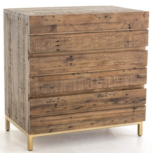 Tiller Brass & Reclaimed Wood 3 Drawers Small Chest