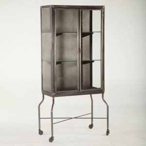 Steampunk Industrial Steel and Glass Medical Cabinet
