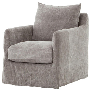 Banks Slipcovered Jute Swivel Club Chair