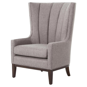Channeled Linen Upholstered Wing Chair
