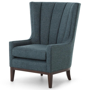 Channeled Peacock Linen Upholstered Wing Chair