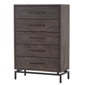 Alexa Industrial Modern Iron & Oak 5 Drawers Chest