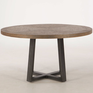 """Long Beach Wood and Iron Round Dining Table 54"""""""