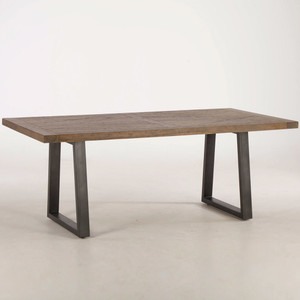 """Long Beach Wood and Iron Dining Table 78"""""""