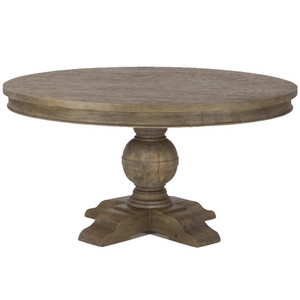 French Urn Solid Wood Pedestal Round Dining Table 60""