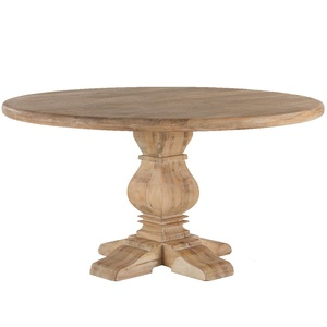 French Farmhouse Trestle Round Dining Table 60""