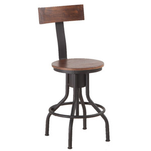 Industrial Solid Wood Adjustable Stool