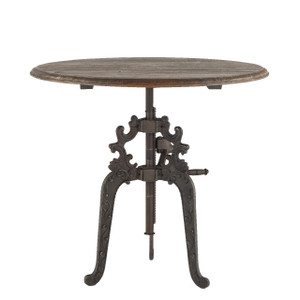 Hobbs French Industrial Wood Top Round Crank Table 40""