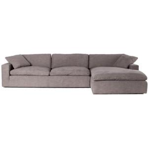 "Plume Grey Upholstered Block Arm RAF Large Sectional Sofa 136"""