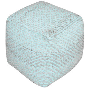Ashley Light Aqua Square Pouf Ottoman