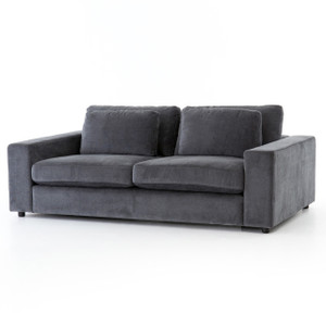 Bloor Contemporary Grey Velvet Upholstered 82""