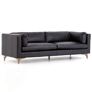 Beckwith Mid Century Modern Black Leather Cushion Back Sofa 94""