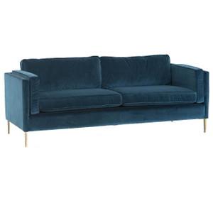 Emery Mid Century Modern Sapphire Velvet Sofa with Brass Legs