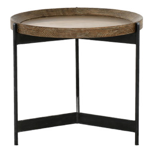 Nathaniel Brass and Oak Round Tray End Table