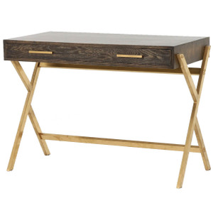 Dante Mid-century Modern Oak Wood Gold Brass Writing Desk