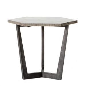Quentin Industrial Iron Bluestone Hexagon End Table