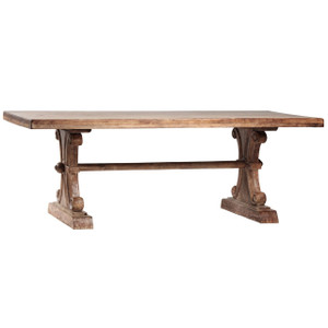 """Italian Farmhouse Solid Wood Trestle Extension Dining Table 120"""""""