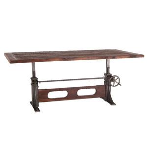 "Bronx Reclaimed Teak Wood Industrial Crank Dining Table 84"""