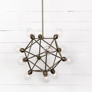 Industrial Glass Globe Atom Pendant Chandelier - Brass