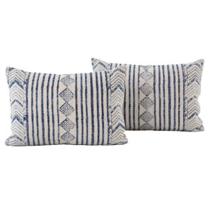 Dhurrie Faded Blue Diamond Stripped Lumbar Pillows