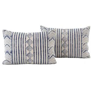 Dhurrie Faded Blue Diamond Stripped Lumbar Pillows