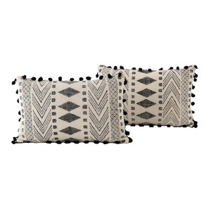 Dhurrie Faded Black Tribal Block Print Lumbar Pillows