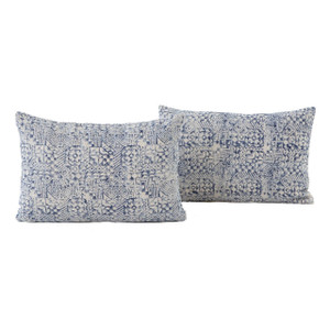 Dhurrie Faded Blue Mosaic Print Lumbar Pillows