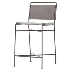 Oxford Industrial Loft Steel Grey Canvas Counter Stool