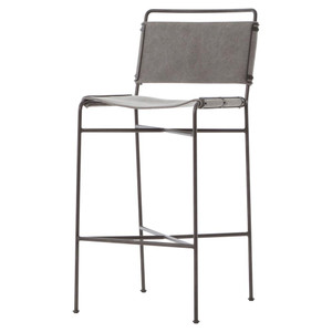 Oxford Industrial Loft Steel Grey Canvas Bar Stool