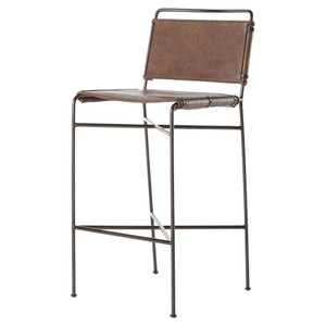 Oxford Distressed Brown Leather Steel Tube Bar Stool