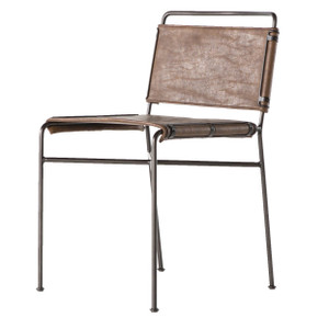 Oxford Distressed Brown Leather Steel Tube Dining Chair