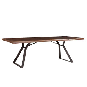 Brooklyn Loft Live Edge Solid Wood Iron Leg Dining Table 92""