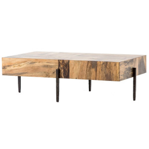 "Inkas Spalted Primavera Wood Block Coffee Table 52"""