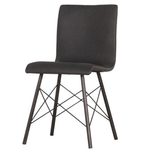 Diaw Black Leather Iron Dining Side Chair
