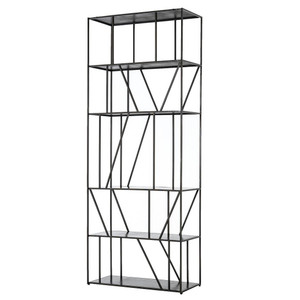 Elly Geometric Iron 5 Shelf Etagere Bookcase