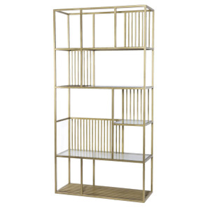 Cage Regency Brass and Glass Shelf Bookcase Etagere